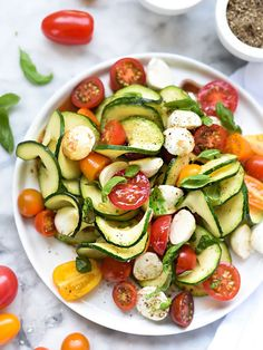 Caprese Zucchini Salad from FoodieCrush | Versatile zoodles strike again. Mix in mozzarella, cherry tomatoes, and basil for a fresh spring dish that only has 221 calories.