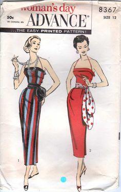 Vintage 50's Side Button Wrap Around Sheath Dress by retromonkeys, $55.00