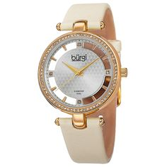 Adorn your wrist in class and style with this ladies Burgi watch. This timepiece features a transparent dial and four genuine diamond markers. With a row of genuine crystals around the bezel and a satin strap, this watch is sure to dress up any outfit.
