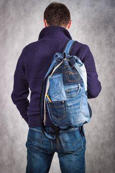Unique Patchwork Upcycled Eco Jeans Denim Backpack Sailor Bag