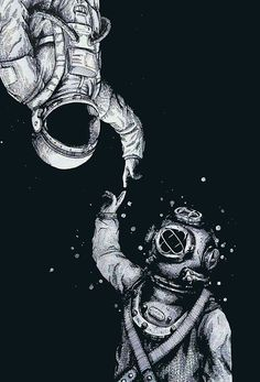 """Astronaut and Diver"" Art Prints by Galaxy Wallpaper, Black Wallpaper, Wallpaper Backgrounds, Iphone Wallpapers, Astronaut Drawing, Astronaut Wallpaper, Tumblr Hipster, Canvas Prints, Art Prints"