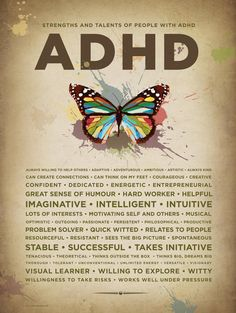 TDAH Poster papillon par ADHDPosters sur Etsy Tap the link to check out fidgets and sensory toys! Adhd Odd, Adhd And Autism, Aspergers Autism, Adhd Facts, Brain Facts, Adhd Quotes, Advice Quotes, Adhd Help, Adhd Brain
