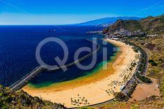 Qdiz Stock Photos | Aerial view to Las Teresitas Beach Tenerife, Spain,  #aerial #Atlantic #beach #blue #breakwater #Canary #coast #coastline #Cruz #island #landscape #LasTeresitas #mountain #nature #ocean #playa #Santa #sea #shore #sky #Spain #spring #summer #Tenerife #view #water #yellow