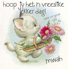 Hoop jy het n vreeslike lekker dag! Cartoon Pics, Cute Cartoon, White Kittens, Cats And Kittens, Cute Images, Cute Pictures, Cute Birthday Wishes, Lekker Dag, Baby Animals