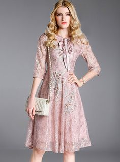 Pink Lace Embroidered Skater Dress Lace Embroidery 624cc7d51