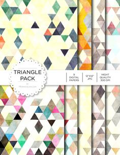"""Digital Paper - Triangle Pack - Instant Download - Digital Artwork by mormonlinkshop  5.00 USD  Digital paper is a bit of a misnomer as no paper is involved! You can use these JPEG versions of 12""""x12"""" papers to create backgrounds photo mattes die-cuts etc. just as you would have used a traditional piece of paper. Of course you're able to use these over and over again no longer will you worry about making the """"wrong cut"""" and wasting your supply. Great for all ages classes activities etc. Hang…"""