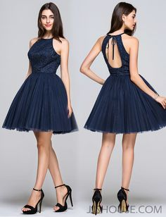 Stylishly chic, this short open back dress is simple with just enough sparkle for a flawless look! #JJsHouse #Party #Prom