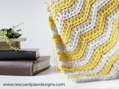 Make it with Vanna's Choice! Baby Ripple Crochet Blanket from Rescued Paw Designs.