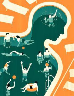 Joey Guidone conceptual editorial illustration for Medicinsk Vetenskap on depression