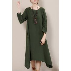 $18.16 Ethnic Style Scoop Neck Long Sleeves Loose-Fitting Solid Color Midi Dress For Women