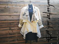 Traveler patch JKT, With Free matching MASK included,raw edge,size oversized,quirky,funky layering ,shabby chic ,patchwork.hand printed. Stencil Printing, Printing On Fabric, Boho Fashion, Vintage Fashion, Vintage Style, Voluptuous Women, Lace Flowers, Edge Design, Raw Edge
