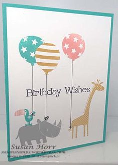 Zoo Babies, Birthday Bash, Stampin Up, susanstamps.wordpress.com