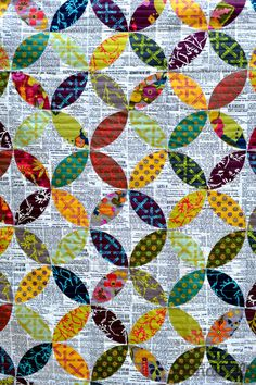 Modern Handcraft - Field Day Quilt & Pillow. This quilt is entirely done with appliqué!