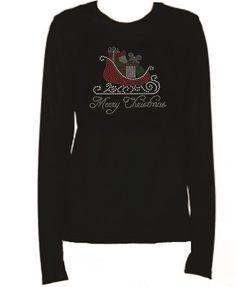 Rhinestone Christmas Sleigh Bling Lightweight LongSleeve T-Shirt Ev51
