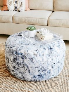 Marbled Leather Pouf