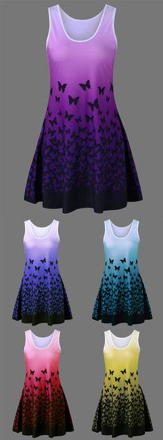 Plus Size Butterfly Pattern Ombre Tank Dress Tank Dress, Dress Skirt, Dress Up, Plus Size Dresses, Nice Dresses, Summer Dresses, Maxi Dresses, Butterfly Dress, Butterfly Pattern