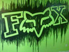 Mural on my new bedroom wall. Looks awesome! Dirt Bike Bedroom, Motocross Bedroom, Racing Bedroom, Bike Room, Fox Racing Logo, Fox Logo, Logo Outline, Monster Energy, Room Themes