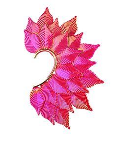 Red Multi Leaves Ear Cuff $47.50