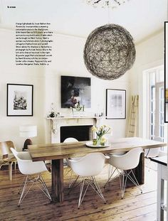 Luella Potter / Mark Tuckey via Inside Out {eclectic white rustic modern dining room} Eames chairs Eames Chairs, Dining Room Chairs, Table And Chairs, Eames Dining, Dining Area, Arm Chairs, Kitchen Dining, Ghost Chairs, Farm Tables