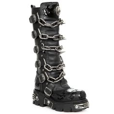 a4aca70a199 New Rock M719 S1 Mens Gothic Leather Tall Boots Chain and Spikes (eBay Link)