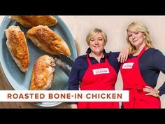 Host Bridget Lancaster shows host Julia Collin Davison how to make the ultimate Roasted Bone-In Chicken Breasts. Get the Recipe for Roasted Bone-in Chicken B. Baked Bone In Chicken, Roasted Chicken Breast, Sauce Recipes, Chicken Recipes, Cilantro Sauce, Americas Test Kitchen, Kitchen Recipes, Hot Dog Buns