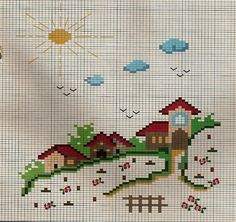 Photo from album «Schemi & Natalia/ Схемы & Natalia Cross Stitch House, Cross Stitch Pillow, Cross Stitch Borders, Cross Stitch Baby, Modern Cross Stitch, Cross Stitching, Cross Stitch Embroidery, Hand Embroidery, Cross Stitch Patterns