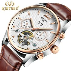 US $72.38 - Luxury Brand Kinyued Mechanical Watches Mens Skeleton Automatic Tourbillon Watch Men Gold Calendar Wristwatch Relogio Mecanico