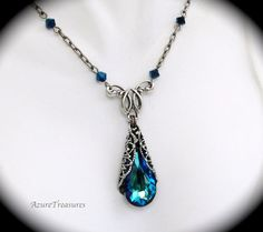 $38 Peacock, Bermuda Blue Crystal Necklace, Teardrop Pendant, Statement Necklace Sterling Silver Bridesmaids Gifts, Bridal, Wedding Jewelry