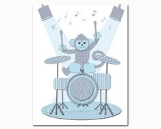 Hey, I found this really awesome Etsy listing at https://www.etsy.com/uk/listing/452161878/monkey-playing-drums-music-nursery-art