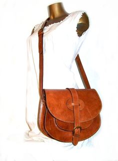 Tan Leather Bag Messenger Shoulder Cross body Bag by chicleather