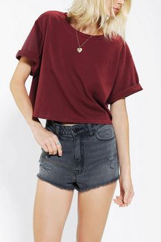 Urban Outfitters - Silence + Noise Roll-Cuff Boxy Tee