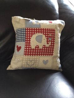 Handmade Elephant And Hearts Patchwork Print Designer Cushions 14""