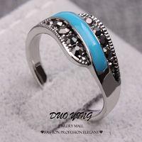 #Vintage# Rings #WhiteGold Black Rhinestone Blue Petrol Dripping #Anniversary Rings For Women Anillos Aneis http://www.aliexpress.com/store/633939