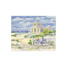 Beach Cruiser Cottage II Wall Art Print (245 CZK) ❤ liked on Polyvore featuring home, home decor, wall art, beach home accessories, beach cottage home decor, beach wall art, cottage home decor and beach scene wall art