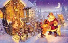 """Scott Gustafson Artist Hand Signed Open Edition Gallery Wrap Canvas Giclee:""""Santa at the North Pole"""" Artist: Scott Gustafson Title: Santa at the North Pole Size: w x h. Edition: Artist Signature / Open Edition Giclee on Ready to Hang Gallery Wrap Christmas Scenes, Christmas Past, Father Christmas, Christmas Pictures, Very Merry Christmas, All Things Christmas, Vintage Christmas, Santa Pictures, Xmas Holidays"""