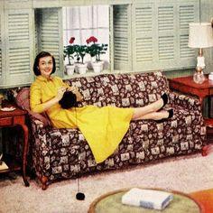 """Well, Hello There! I'm Knitting, "" ""Life"" magazine March 1956 Retro Humor, Vintage Humor, Retro Vintage, Retro Funny, Vintage Kitchen, Vintage Style, Vintage Ladies, Vintage Housewife, Housewife Humor"