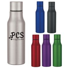 "Keep your beverages cool with this handy marketing tool! With a height of 9 1/2"", this 24 oz. stainless steel bottle features a screw on, spill-resistant lid and a wide mouth opening. Available in several metallic colors to choose from, add a silkscreen imprint of your company name and logo for a customized giveaway! This product is BPA free and meets FDA requirements. Hand washing is recommended. These orders are sold in full carton quantities only. Marketing Budget, Marketing Tools, Metallic Colors, Stainless Steel Water Bottle, Unity, Drinks, Beverages, Hand Washing, Water Bottles"