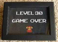 "NES-era super mario ""game over"" 30th birthday cross stitch"
