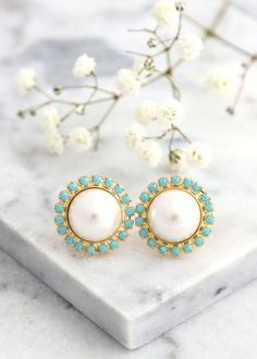 Buy Now Pearl Earrings Pearl Turquoise Stud Earrings Gift For...