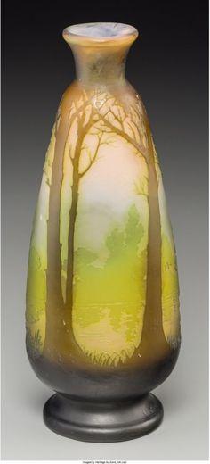 A Gallé Overlay Glass Landscape Vase Nancy France