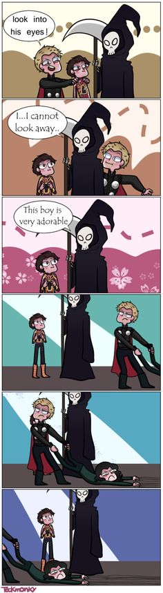 Thor and Peter visit death to save Loki pt. Loki doesn't want to leave! Funny Marvel Memes, Marvel Jokes, Dc Memes, Avengers Memes, Funny Comics, Funny Memes, Hilarious, Marvel Avengers, Hero Marvel
