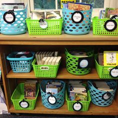 The Wild Rumpus: Classroom Decor: My Blue and Green Classroom love the different size baskets of the same colors 2nd Grade Classroom, Classroom Setup, Classroom Design, Future Classroom, School Classroom, Classroom Color Scheme, Classroom Helpers, Toddler Classroom, Classroom Environment