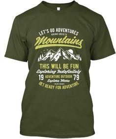 Adventure Mountain Shirt Men Military Green T-Shirt Front Shirt Men, T Shirt, Shirt Print Design, Military Green, Printed Shirts, Shirt Style, Just For You, Mens Fashion, Mens Tops