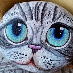 Painted rock cat