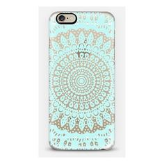 Tribal Boho Mandala in Teal Crystal Clear Phone Case (54 AUD) ❤ liked on Polyvore featuring accessories, tech accessories, phone cases, cases, phones and tech