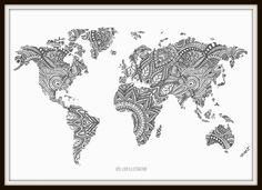 Items similar to Zentangle World Map Art Print on Etsy