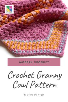 Make Crochet modern with this granny stitch cowl from Zeens and Roger Modern Crochet, Crochet Granny, Cowl, Crochet Patterns, Stitch, Full Stop, Crochet Pattern, Crochet Pattern, Cowls