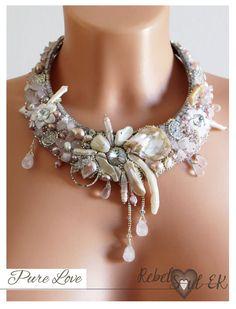 Gemstone necklace wedding neck piece OOAK artisan by RebelSoulEK