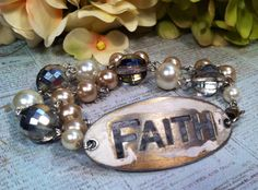 """FAITH"" Bracelet  Hand Altered, Painted & Distressed  Design & Handcrafted by Rachel's Originals:  Jewelry So Adorable,.. It's ADORNable  TO ORDER: Please visit my FB and/or Esty pages at the following links!  www.facebook.com/RachelsOriginals  www.rachelsoriginalgifts.etsy.com"