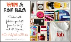 Win a FAB BAG full of products from P&G and Walgreens!  This is the same FAB BAG that was shown at the People's Choice Awards!  Covergirl, Olay, Crest, Venus, and more!   #PCA2014  #sponsored #OnMyWay2Fab